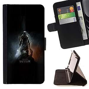 BullDog Case - FOR/LG Nexus 5 D820 D821 / - / Dragonborn Warrior - Poster /- Monedero de cuero de la PU Llevar cubierta de la caja con el ID Credit Card Slots Flip funda de cuer