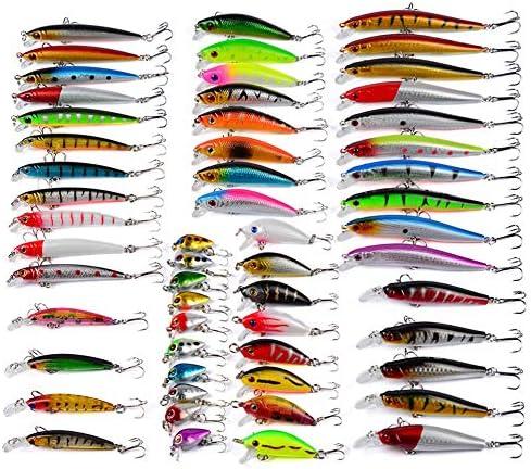 釣りルアー 56pcs餌釣りスイベルオフセットフック用ベーストラウトサーモン魚の餌キットセットクランクベイトスイム 釣り餌 (Color : Multi-colored, Size : Free Size)