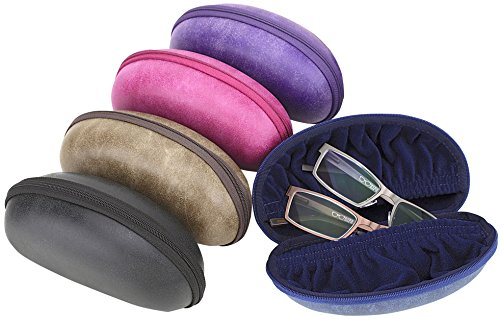 Oversized Sporty Zip Up Eyeglass Case For Men & Women, Fits 2 Pairs Of Glasses