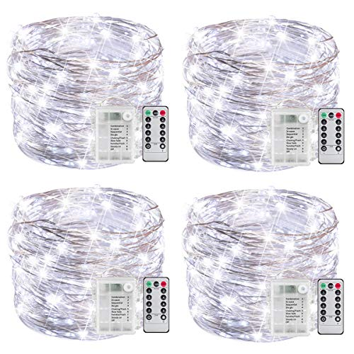 YOUNGFORCE Fairy Lights, Battery Powered String Lights with Remote Control Waterproof Decorative Copper Wire Lights 16.5ft 50LEDs for Bedroom,Patio,Indoor,Party,Garden(Cool White 4 Packs)