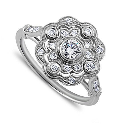 0.40CT 18K White Gold Edwardian Style Pave Bezel Set Round Diamond Art Deco Style Flower Engagement Ring 1.6mm Wide