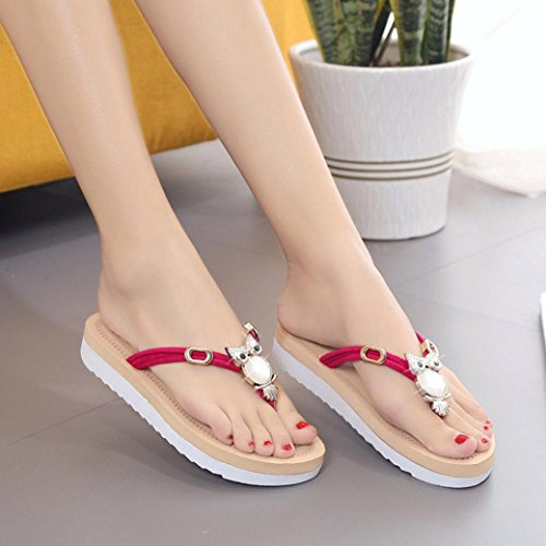 Baomabao Dames Sand Sandalen Slippers Plat Skid Beach Red