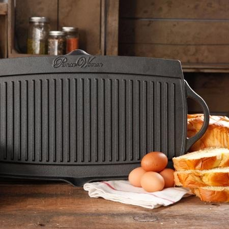 The Pioneer Woman Timeless Cast Iron Pre-Seasoned Reversible Grill/Griddle, Black (1)