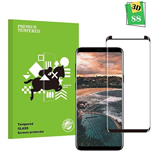zujzvnm Samsung Galaxy S8 Panzerglas Schutzfolie, Qualität 3D Gehärteter Glas panzerfolie [HD Klar] [Anti Fingerabdruck] [Blasenfrei] [Anti-Kratzen] 3D Displayschutzfolie Folie für Samsung Galaxy S8