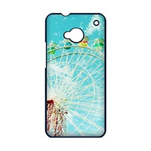 COOL phone case,For black plastic HTC ONE M7 case with Ferris Wheel Of Happiness Pattern at Run horse store