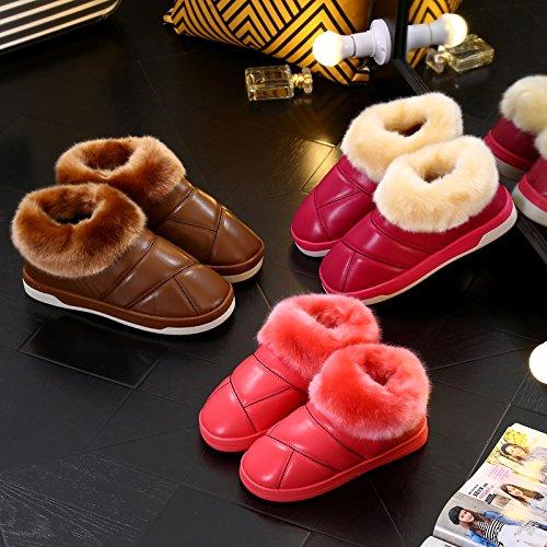 CWAIXXZZ pantofole morbide Autunno Inverno pelle PU cotone pantofole uomini e donne giovane pacchetto con un soggiorno in indoor e outdoor caldo impermeabile lana spesse pantofole ,240 iarde/lunga 22.