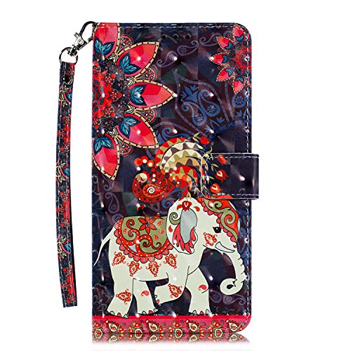 (Galaxy S9 - Case, for [S9], MerKuyom [Kickstand] Premium PU Leather Wallet Pouch [Card Holder] Protective Flip Cover Skin Case Holster for Samsung Galaxy S9 (Flowers Bird Elephant) )