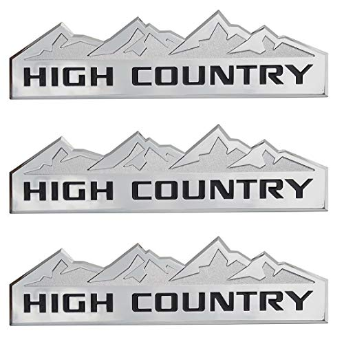 Yuauto 3Pc HIGH Country Car Emblem, Replacement for Badges Door Tailgate 3D Nameplate for Chevrolet Silverado 1500 2500HD Sierra 3500HD (Chrome)