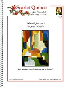 Scarlet Quince MAC003lg Colored Forms I by August Macke Counted Cross Stitch Chart, Large Size Symbols