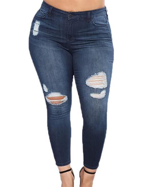 Jeans de talle alto para mujer talla grande Jeans rasgados ...