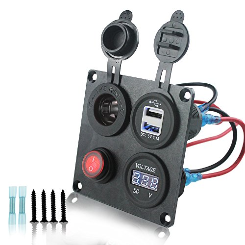 Iztoss 12-24V Blue Voltmeter Cigarette Lighter Dual USB Adapter Charger with switch 4 hole aluminum Panel plate For truck Boat marine trailer