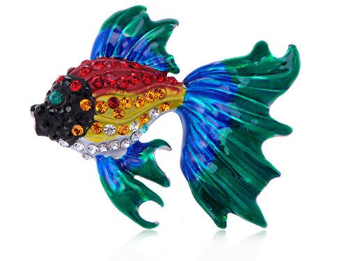 (Alilang Multicolor Crystal Rhinestones Enamel Goldfish Tropical Fish Pin Brooch)