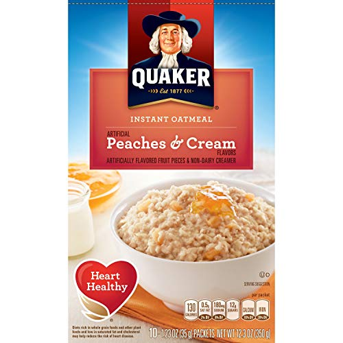 (Quaker Instant Oatmeal, Peaches & Cream, Breakfast Cereal, 10 (1.23 Oz) Packets Per Box (Pack of 4))