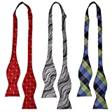 Bundle Monster 3pc Mens Fashion Adjustable Length Self Tied Necktie Bow Ties - Hector's Go Tos