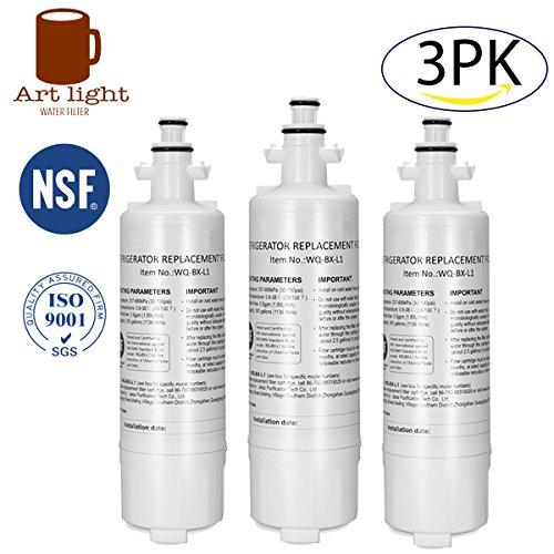 Art light 3PK LT700P Refrigerator Water Filter Replacement for LG LT700P ADQ36006101 ADQ36006101-S ADQ36006101S ADQ36006102 ADQ36006102-S KENMORE 46-9690 - 3 Light Art
