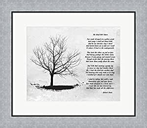 Robert Frost The Road Not Taken Framed Art Print Wall Picture, Flat Silver Frame, 23 x 20 inches