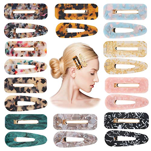 20 Pcs Acrylic Resin Hair Clips Set Fashion Geometric Alligator Barrettes Leopard Pattern Vintage Hair Accessories Hairpins for Women