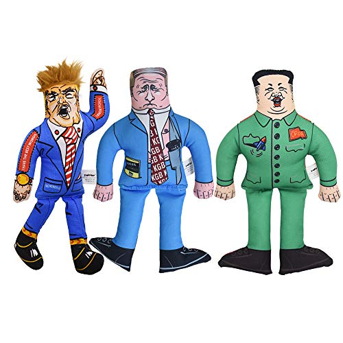 (3 in 1 Packs Donald Trump Dog Toy with Kim Jong Un, Vladimir Putin Gag Gifts for Dog Funny Parody Squeaky Dog Chew Toy, 10