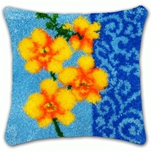 19 Model Latch Hook Kit Flower Cushion Cover DIY Craft Needlework Crocheting Cushion Embroidery BZ496 (1 (Floral Latch Hook)
