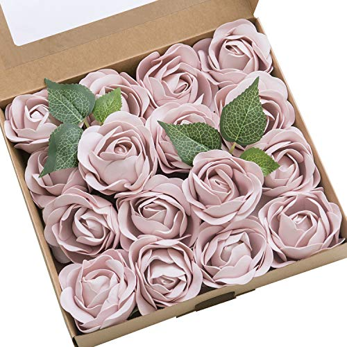(Ling's moment Real Touch Artificial Rose Flower 16pcs Blush Peonies Real Looking Fake Peony w/Stem DIY Wedding Bouquet Centerpieces Reception Arrangements Party Baby Shower Home Décor)