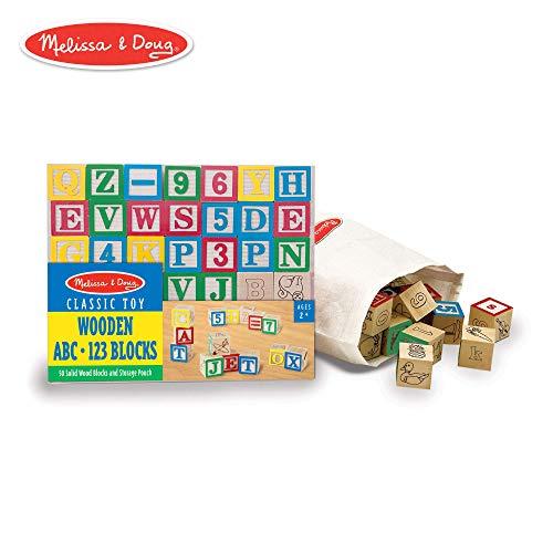 Melissa & Doug Deluxe Wooden ABC/123 Blocks Set (Developmental Toys, Storage Pouch, 1-Inch Wooden Blocks, 50 Pieces) (Renewed)