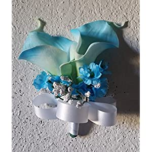 Turquoise Calla Lily Corsage or Boutonniere 110