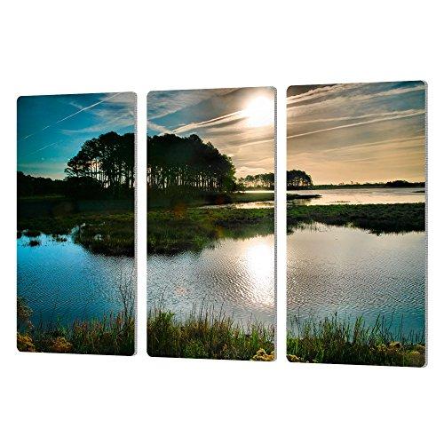 24 x 36 ArtWall 3 Piece Steve Ainsworths Early Morning on Beach Drive II Artmetalz Aluminum Print Set