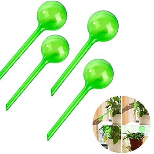 Eshylala 4 Pieces Automatic Watering Globe Watering Device Globes Garden Water Device Set Watering Bulbs Automatic Watering System Flower Plant Self Plant Waterer, 26.5x8cm/10.43x3.15inch (Automatic 4 Piece Set)