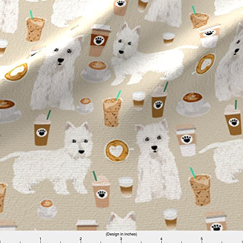 Westie Fabric Westies Coffee Fabric Beautiful West Highland Terrier Dog Fabrics Cute Westies Design Cute Coffees by Petfriendly Printed on Kona Cotton Ultra Fabric by the Yard by Spoonflower