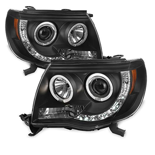 For Toyota Tacoma Pickup Black Bezel Dual Halo Ring Design Projector LED Replacement Headlights Lamps - Toyota Tacoma Halo Headlights