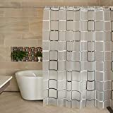 Black Shower Curtain Liner Lilium PEVA Shower Curtain Liner,Waterproof,Black and White Square Style, Distribution Matching Hooks, Standard Size 71 Inches by 79 Inches, (Black and white/71W×71H)