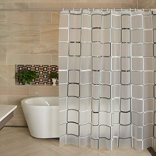 Lilium PEVA Shower Curtain Liner, Waterproof,Black and White Square Style, Distribution Matching Hooks, Standard Size 71 Inches by 79 Inches, (Black and white/71W×79H)