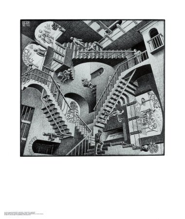 Relativity Art Poster Print by M. C. Escher, 22x26
