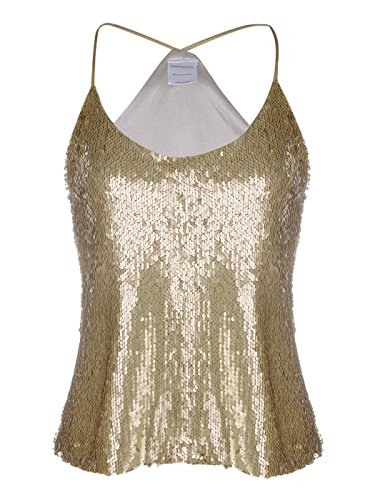 Anna-Kaci Womens Shimmer All Over Sequin Sparkle Spaghetti Strap Vest Tank Top (Gold Glitter Shirt)
