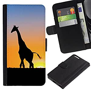 All Phone Most Case / Oferta Especial Cáscara Funda de cuero Monedero Cubierta de proteccion Caso / Wallet Case for Apple Iphone 6 PLUS 5.5 // Sunset Giraffe