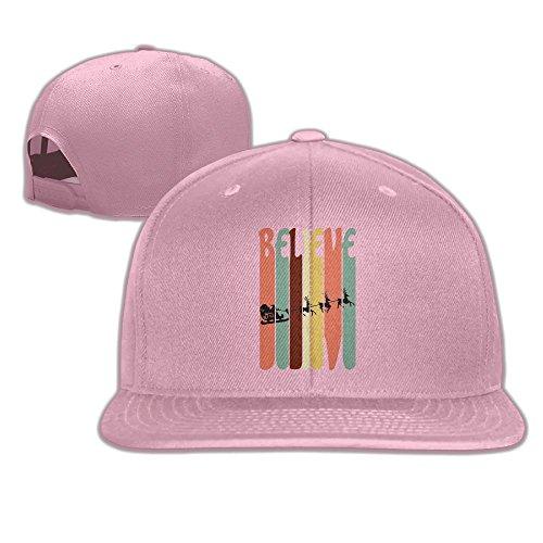 - Aiguan Christmas Vintage Skyline Santa Flat Visor Baseball Cap, Designed Snapback Hat Pink