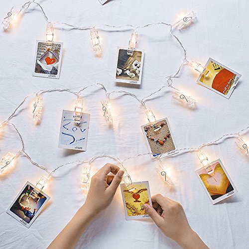LED Photo Clips String Lights with 20 LEDs, DLAND 7.2ft Fairy Twinkle Lights for Wedding Party Christmas Home Decor, Hanging Photos, Cards, Painting Pictures(7.2 Feet, Warm White)