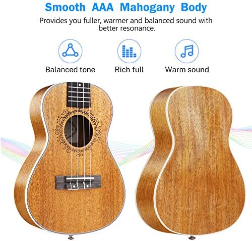 Vangoa Concert Ukulele Mahogany 23 Inch Acoustic Ukulele Beginner Kit with Gig Bag and Fast Learn Book for Beginners Kids Adults Professionals