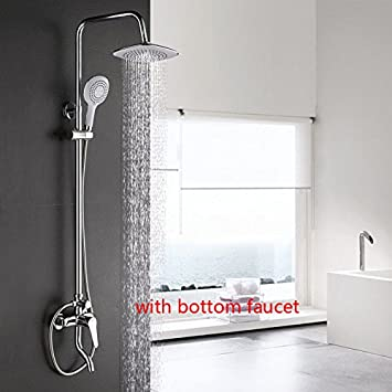Amazon.com: Dofaso Copper Bathroom Rain Shower Sets Bath Tap Shower ...