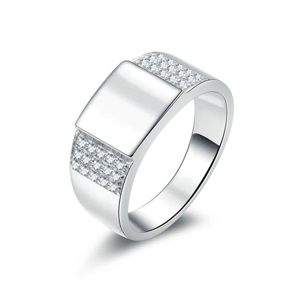 Men Wedding Ring High Polish Cubic Zirconia For Him Customized Ring Gnzoe Jewelry