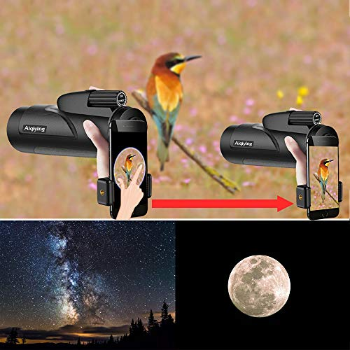 Monocular Telescope, 12x50 HD Dual Focus Low Night Vision Waterproof High Power Spotting Scopes Adults Cell Phone Photography Adapter Bird Watching, Hunting, Camping,Travelling, Hiking