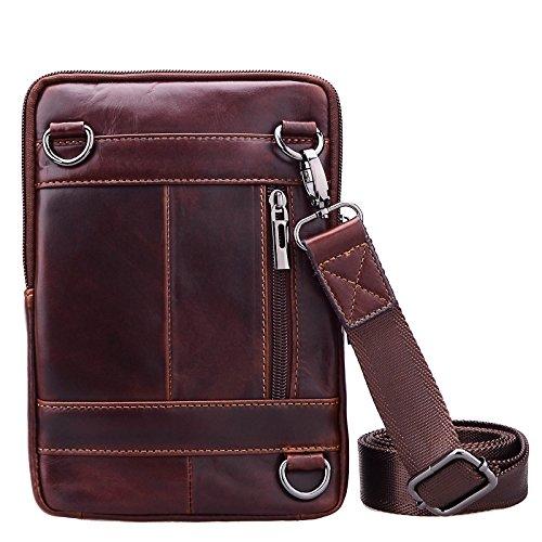 Sunmig Men's Vintage Genuine Leather Shoulder Bag Messenger Bags (brown-3803) by Sunmig (Image #4)