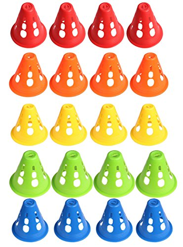 Mini Skater 3 Inch Adult Kid Plastic Windproof Roadblock Sport Training Traffic Road Cones Set with Holes for Roller Skating and Skate Practice,5 Colors, 20 Pcs.