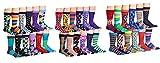 J.Korn Mens 12 Pack Colorful Funky Patterned Crew Cotton Dress Socks
