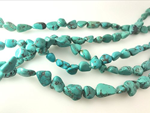TheTasteJewelry 8x12mm Nugget Natural Green Turquoise Beads 15 inches 38cm Jewelry Making Necklace Healing - 2759 (Natural Nugget Stones Turquoise Green)