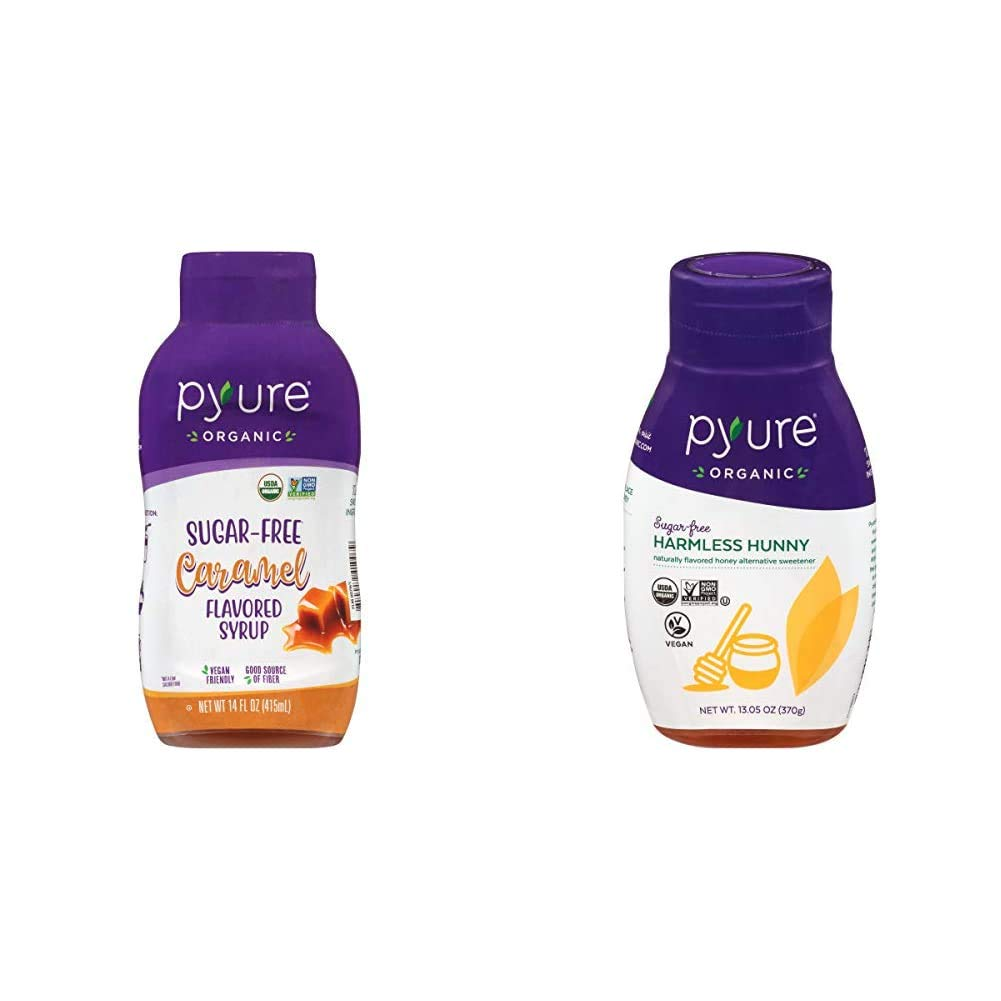 Pyure Organic Caramel Flavored Syrup By | Sugar-Free, Keto, 1 Net Carb | 14 Fl. Oz & Organic Harmless Hunny by Pyure | Vegan Honey Alternative, Sugar-Free, Keto, Low Carb | 13.05 Ounce