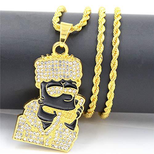 (ICE BOX CZ Diamond Gold Bart Simpson Head Chain Supreme Necklace Hip Hop Rapper Bling Fashion Jewelry)