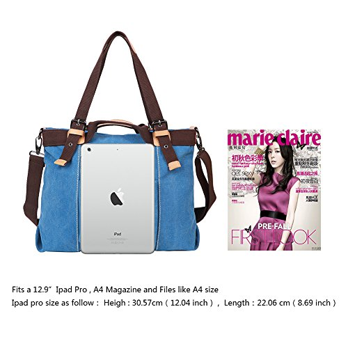 EGOGO Women's Tote Bag Blue Handbag Bag E523 Shoulder Bag Body Canvas 6 Casual Cross ddqZWwBr