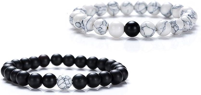 Howlite bracelet Matte black bead bracelet 8 mm white and black bead bracelet Woman bracelet Custom bracelet