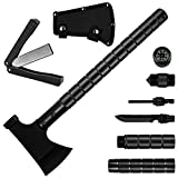 Camping Axe Multi-tool Kit Survival Emergency Gear Portable Folding Collapsible Camp Ax Hatchet Tomahawk Tactical Hand Tool with Sheath Hammer for Hiking Backpacking Hunting Outdoor Adventures 16 inch